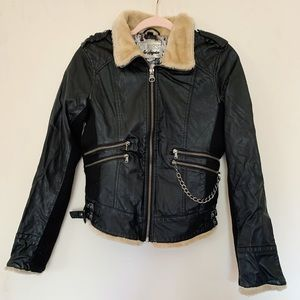 GUESS Los Angeles Leather Jacker with Fur